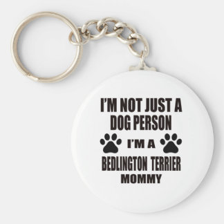 I am a Bedlington Terrier Mommy Basic Round Button Keychain