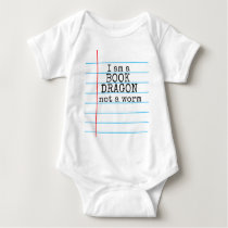 """I am a BOOK DRAGON not a worm"" on Notebook Paper Baby Bodysuit"