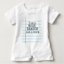 """I am a BOOK DRAGON not a worm"" on Notebook Paper Baby Romper"