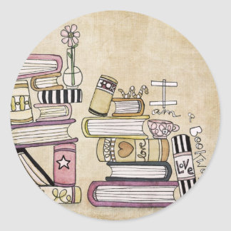 i am a bookworm round stickers