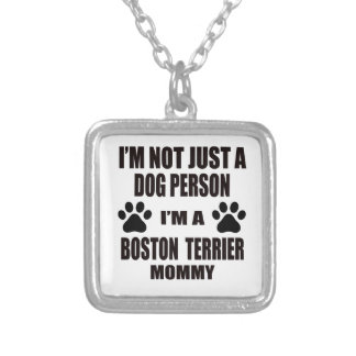 I am a Boston Terrier Mommy Square Pendant Necklace