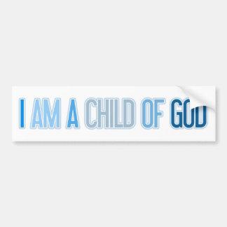 I AM A CHILD OF GOD BLUE BUMPER STICKER