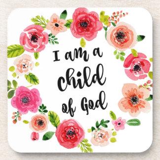 I am a child of God Floral Item Beverage Coaster