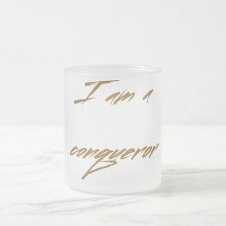 I AM A CONQUEROR FROSTED GLASS COFFEE MUG