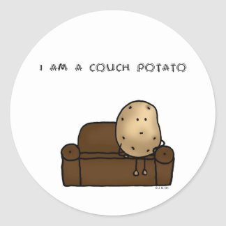 I am a couch potato classic round sticker