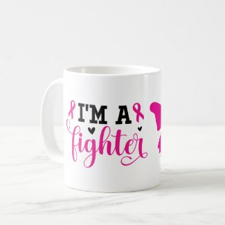 I am a fighter breast cancer awareness pink ribbon coffee mug