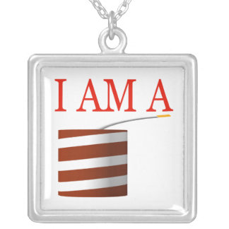 I Am A Firecracker Square Pendant Necklace