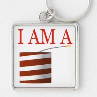 I Am A Firecracker Silver-Colored Square Keychain