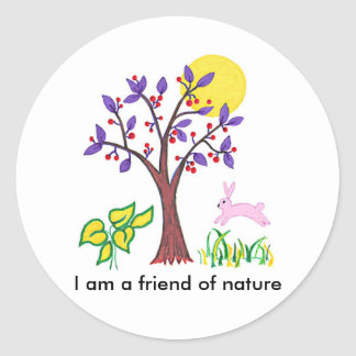 I am a friend of nature painting & quotation classic round sticker