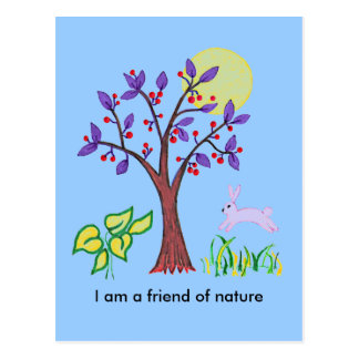 I am a friend of nature painting & quotation postcard