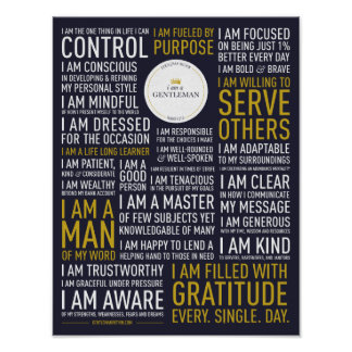 I Am A Gentleman Manifesto (11x14 inches) Poster