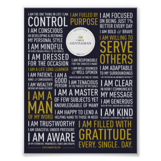 I Am A Gentleman Manifesto (5x6.5 inches) Poster