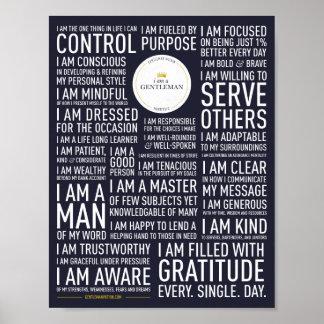 I Am A Gentleman Manifesto Poster (Blue)