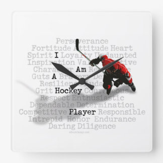 I am a Hockey Player Square Wallclocks