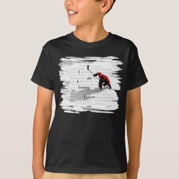 I Am A Hockey Player T-shirt by eBrushDesign at Zazzle