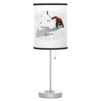 I Am A Hockey Player Table Lamp by eBrushDesign at Zazzle