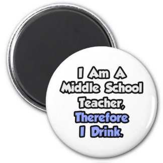 I Am A Middle School Teacher, Therefore I Drink 2 Inch Round Magnet