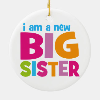 I am a new Big Sister Double-Sided Ceramic Round Christmas Ornament