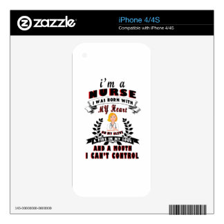 I am a nurse I was born with a Heart Decals For The iPhone 4S