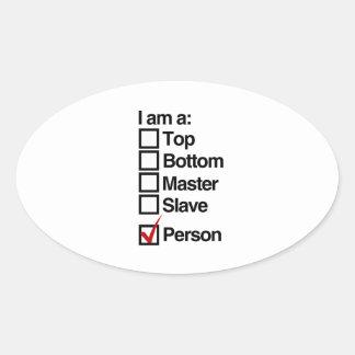 I am a person (dominance) oval sticker