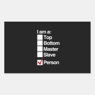 I am a person (dominance) rectangular sticker