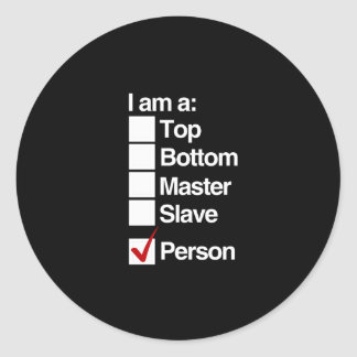 I am a person (dominance) classic round sticker