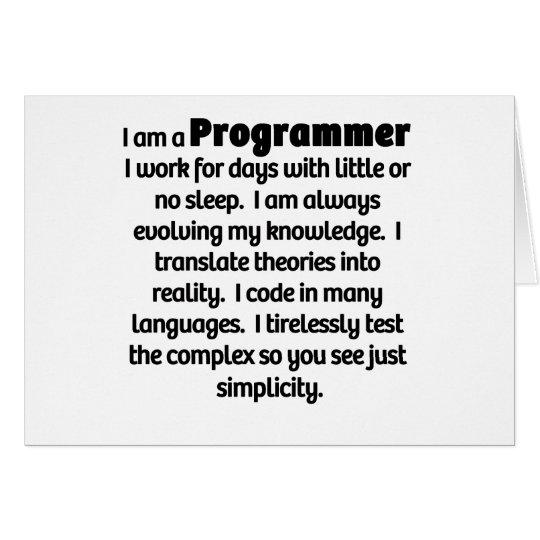 I Am A Programmer Card
