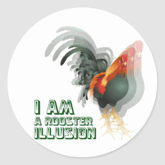I Am A Rooster Illusion Classic Round Sticker