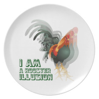 I Am A Rooster Illusion Party Plate