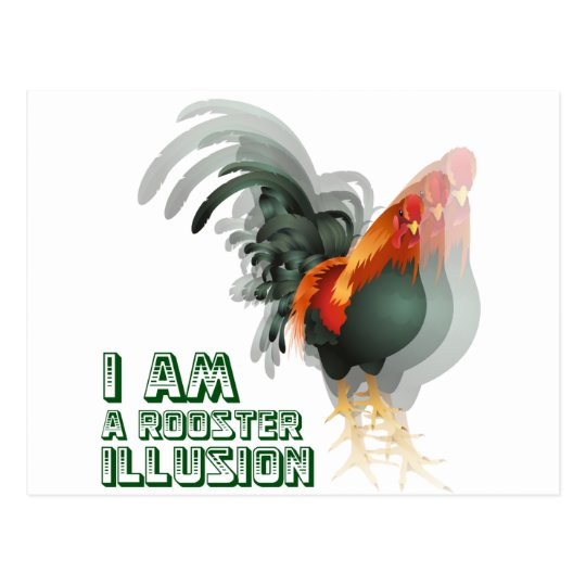 I Am A Rooster Illusion Postcard