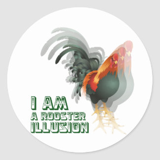 I Am A Rooster Illusion Round Sticker