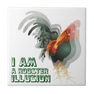 I Am A Rooster Illusion Small Square Tile