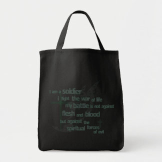 I am a Soldier Christian tote bag (black)
