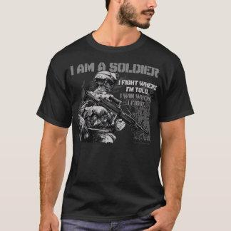I Am A Soldier on Men's Black T-Shirt