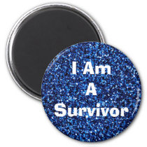 I Am a Survivor Affirmation Blue Magent Magnet