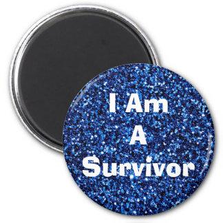 I Am a Survivor Affirmation Blue Magent Magnet