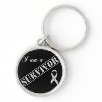 I am a Survivor - Brain Tumor / Cancer Grey Ribbon Keychain