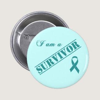 I am a Survivor - Cervical Cancer Teal Ribbon Pinback Button