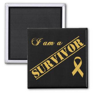 I am a Survivor - Childhood Cancer Gold Ribbon 2 Inch Square Magnet