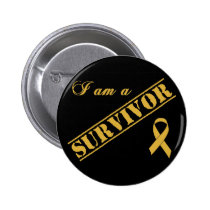 I am a Survivor - Childhood Cancer Gold Ribbon Pinback Button