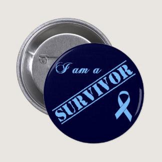 I am a Survivor - Light Blue Ribbon Button