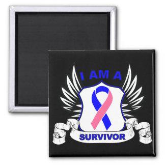 I am a Survivor - Male Breast Cancer 2 Inch Square Magnet