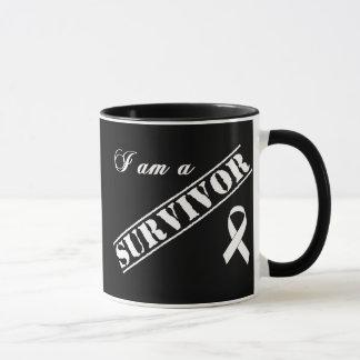 I am a Survivor of Lung Cancer - White Ribbon Mug
