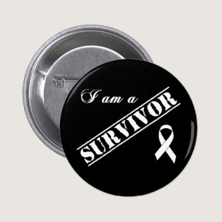 I am a Survivor of Lung Cancer - White Ribbon Pinback Button