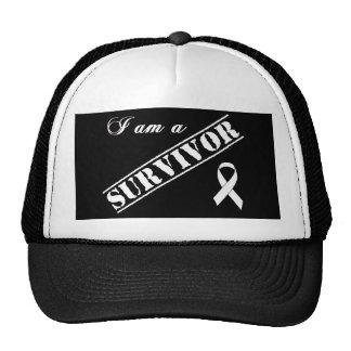 I am a Survivor of Lung Cancer - White Ribbon Trucker Hat