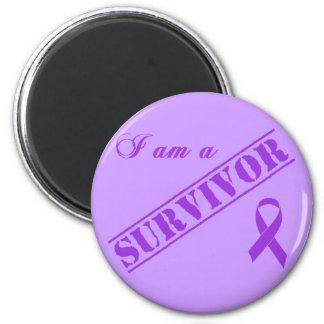 I am a Survivor - Purple Ribbon Magnet