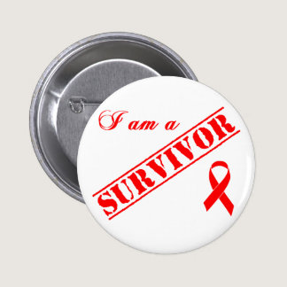 I am a Survivor - Red Ribbon AIDS & HIV Button