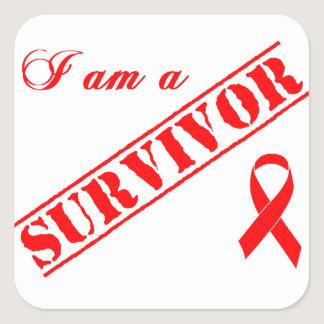 I am a Survivor - Red Ribbon AIDS & HIV Square Sticker
