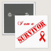 I am a Survivor - Red Ribbon Button