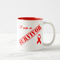 I am a Survivor - Red Ribbon Two-Tone Coffee Mug
